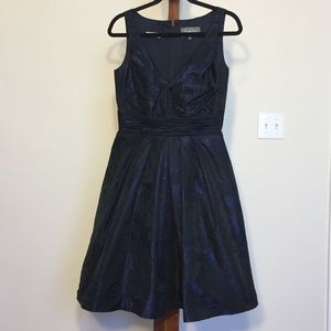 Theia Navy and Black Jacquard Dress with Jacket